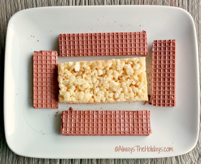 Trim your Rice Krispie treats and wafer cookies.