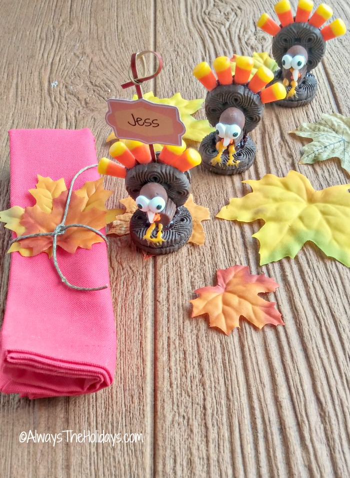 This adorable Oreo turkey cookie will do double duty by being a place card holder to show kids where to sit at the Thanksgiving table.