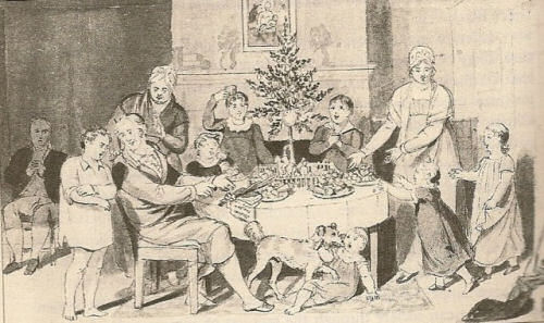 A black and white painting of an early Victorian Christmas tree celebration, with a group of people gathered around the Victorian Christmas tree perched on a table.