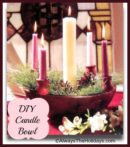 DIY Wooden Candle bowl with holiday greenery