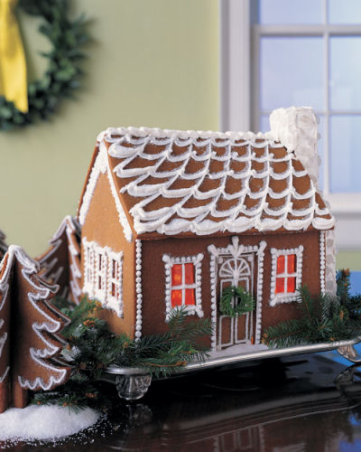 Snow swept Gingerbread cottage