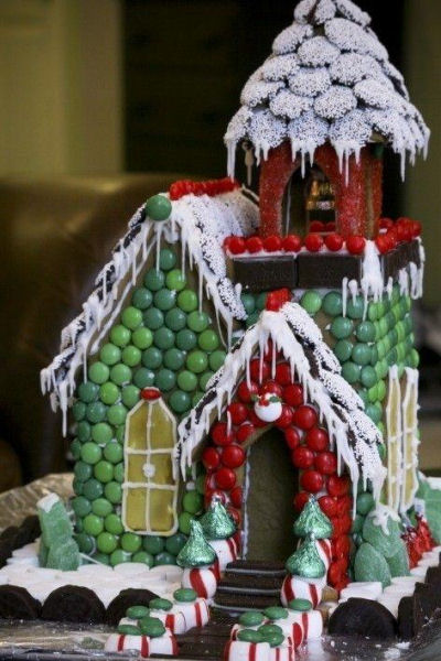 Gingerbread house covered in assorted candy