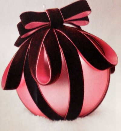 Velvet ribbon hides scratches on this ornament beautifully.