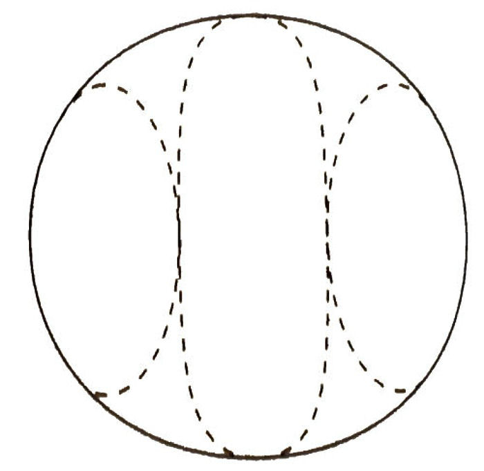 Circle with a pattern in the shape of ears of corn.