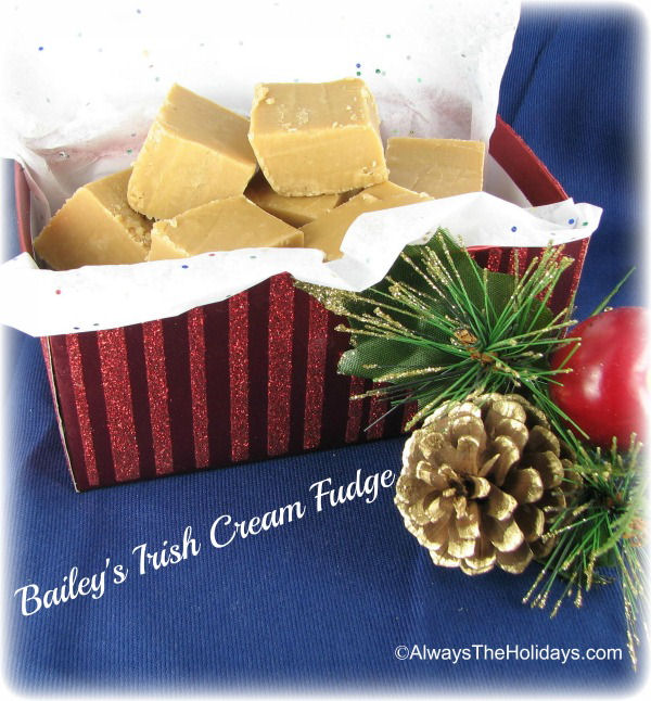 Bailey's Irish cream fudge in a red striped box on top of a blue tablecloth next to a pinecone on a bine bough.