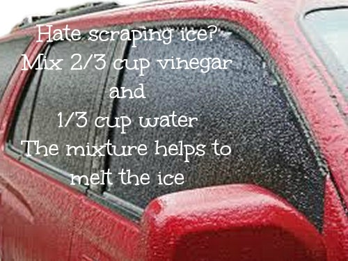 Vinegar and water ice melter
