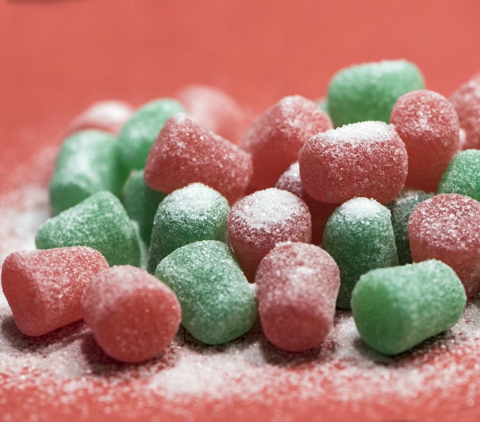 red and green gumdrops