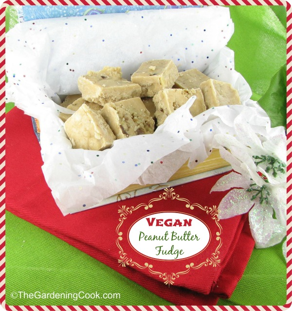 Vegan peanut butter fudge in a box lined with tissue paper on a table with red and green napkins.