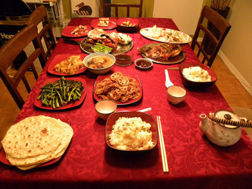Chinese New Year dinner table