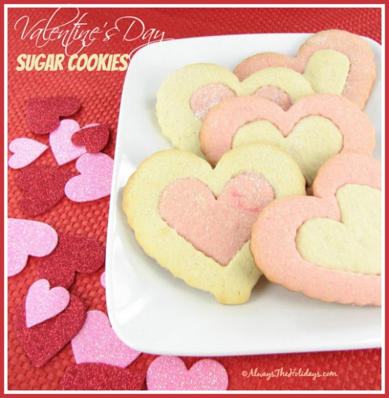 "Valentine's Day Heart shaped Sugar Cookies are the perfect way to say ""I love you"" to your special someone. alwaystheholidays.com"