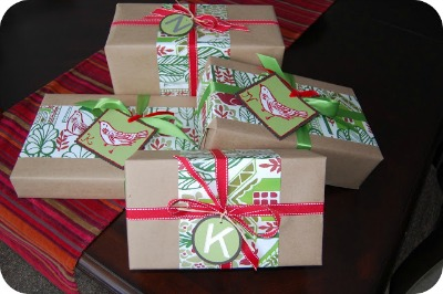 Pottery barn shopping bag recycled into new gift wrap.
