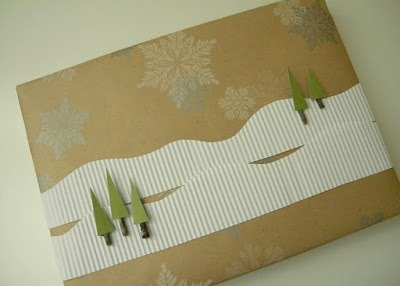 Snowy mountain scene gift wrap from carolynshomework.com