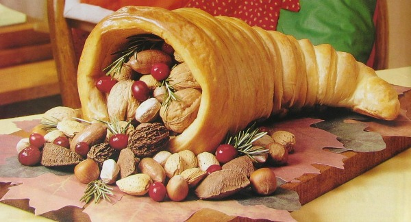 This Thanksgiving Cornucopia is make from bread and is fully edible.