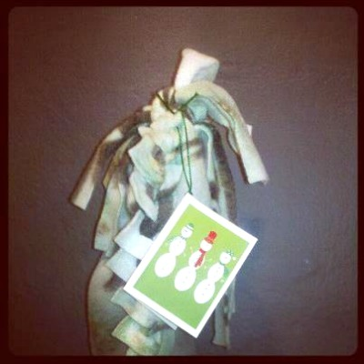 Fabric gift bag made from fleece