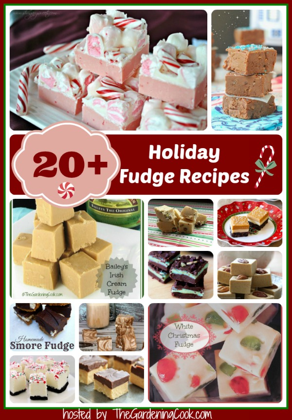 Twelve photos of different types of fudge with a text overlay that reads