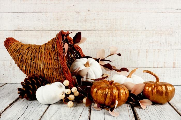 Wicker cornucopia with pumpkins, and pine cones.