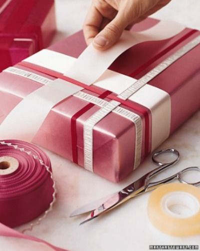 Woven ribbon gift wrapping.