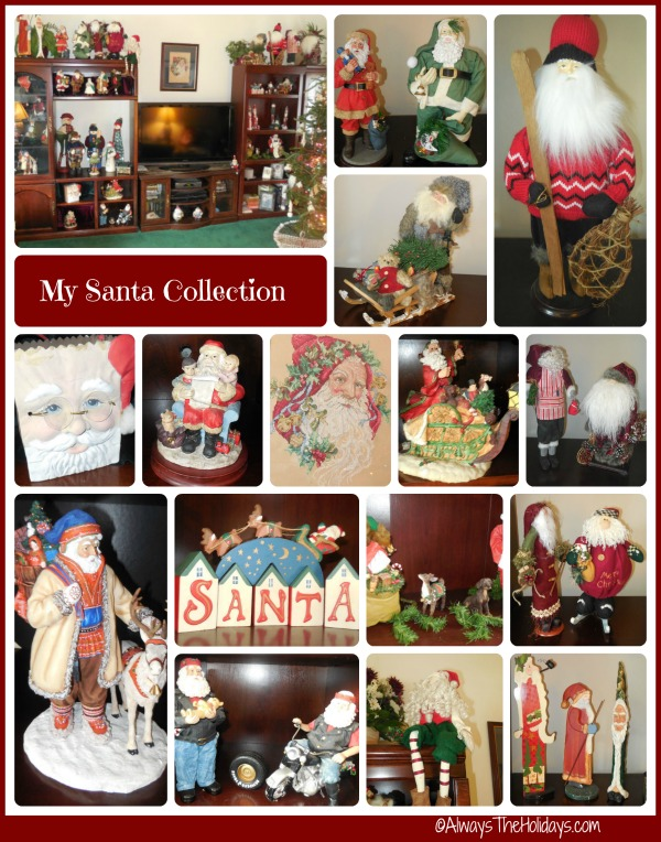 My Santa Claus collection in a collage of 16 different photos.