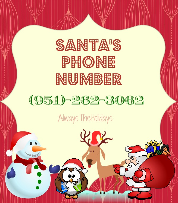 Fun for the kiddos!  Let them call Santa on his very own phone number!