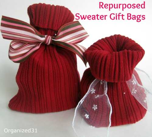sweater gift bags. So darling! from organized31.com