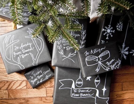 DIY chalkboard Gift Wrap from goinghometoroost.com