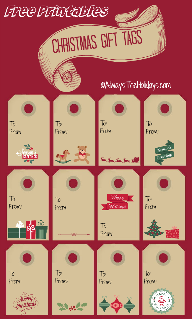 Free Printable Christmas Labels - Always the Holidays