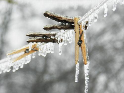 Frozen clothespins