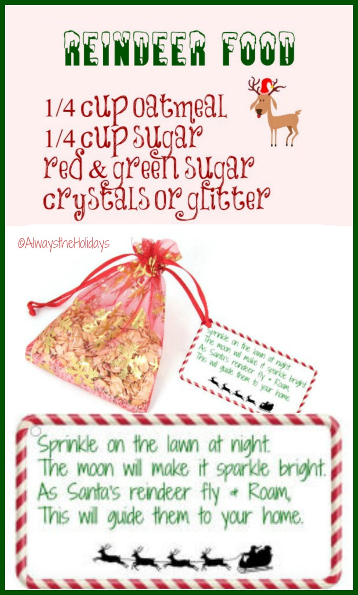 This recipe for Magic Reindeer Food and FREE printable label witll delight both children and grandchildren and makes a special Santa treat- alwaystheholidays.com/magic-reindeer-food