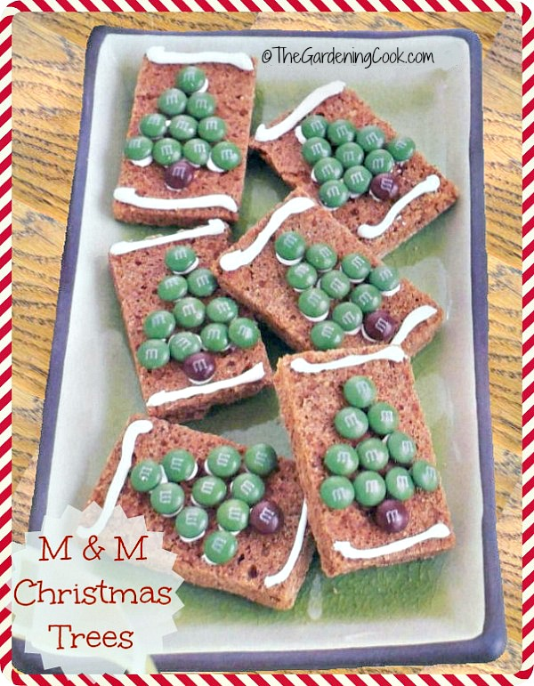 M M gingerbread tree bars from thegardeningcook.com