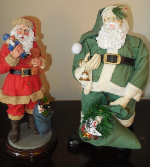 2 Porcelain Santa Claus figures