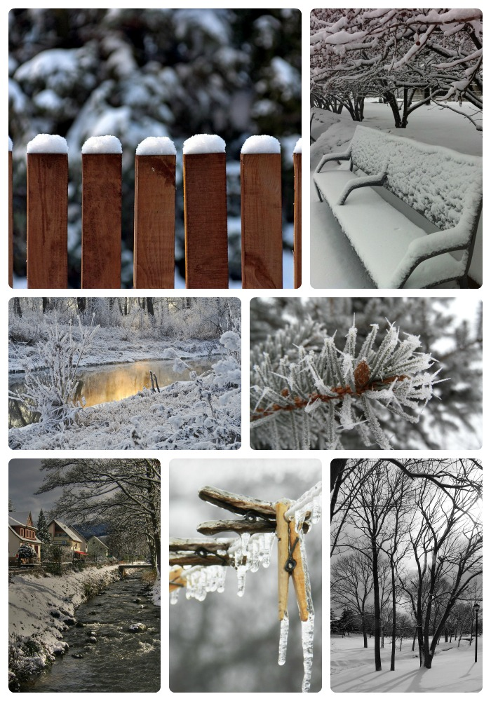 A collage of photos of seven different inspirational winter scenes.