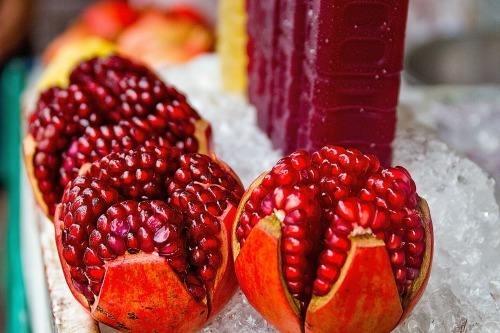 The pomogranate is a lucky new years food that is supposed to bring good health