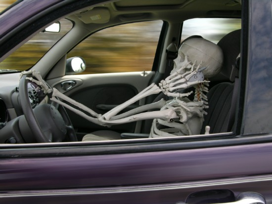 Skeleton driving and using a cell phone
