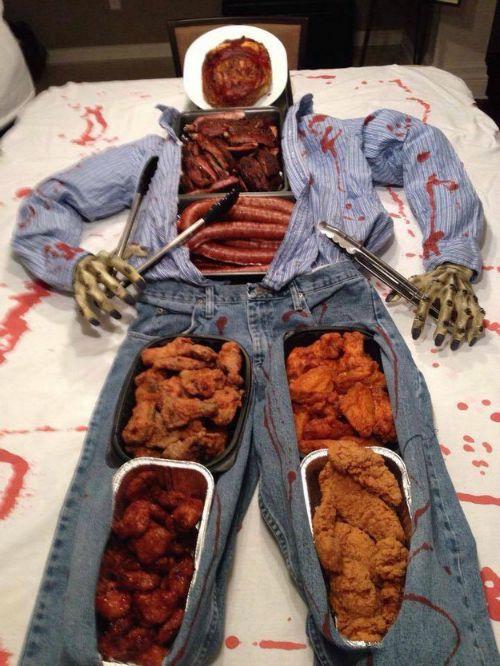 Halloween buffet setting