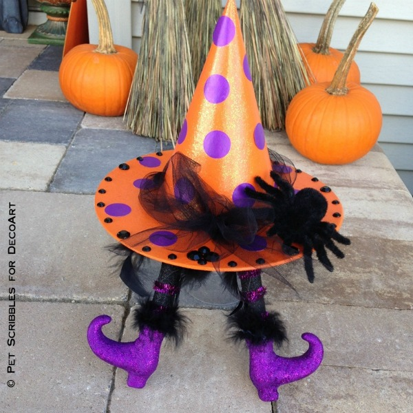 Polka dotted witch hat and feet