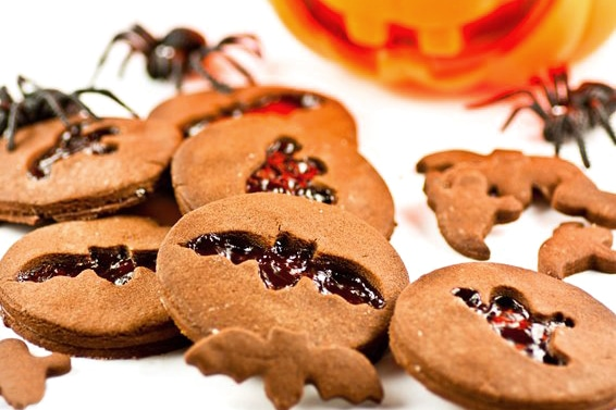 Halloween cookies with jam cut outs