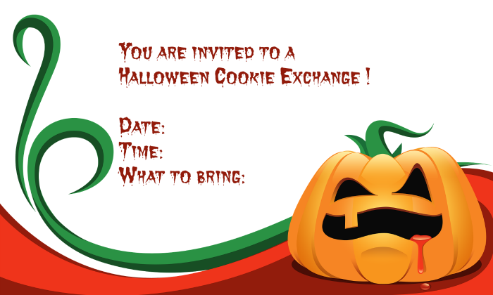 Halloween invite to a cookie exchange
