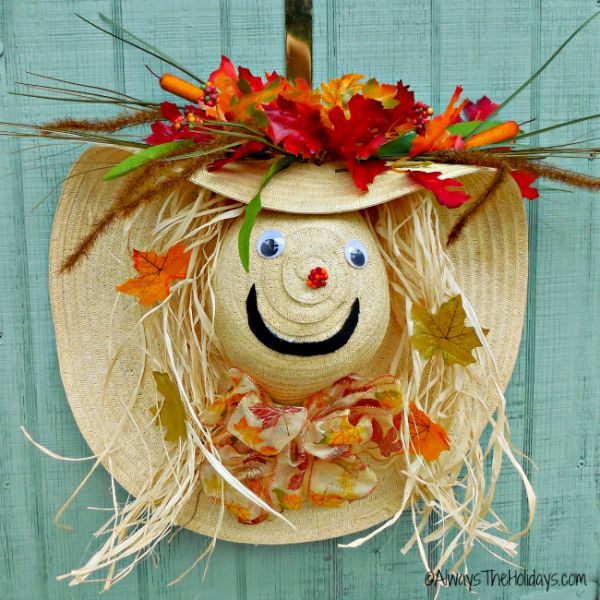 Scarecrow wreath autumn door decoration