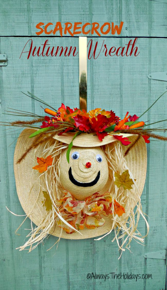This adorable Scarecrow wreath autumn door decoration is fun to make and will delight both young and young at heart visitors.