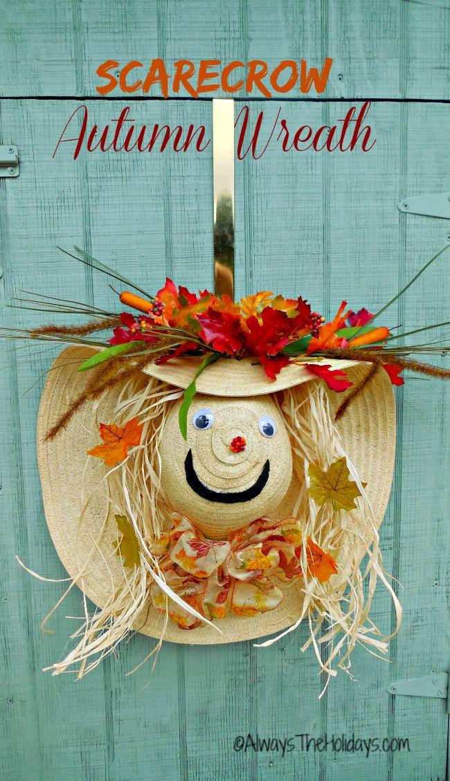 Scarecrow Wreath Diy Scarecrow Wreath Tutorial Using A Straw Hat