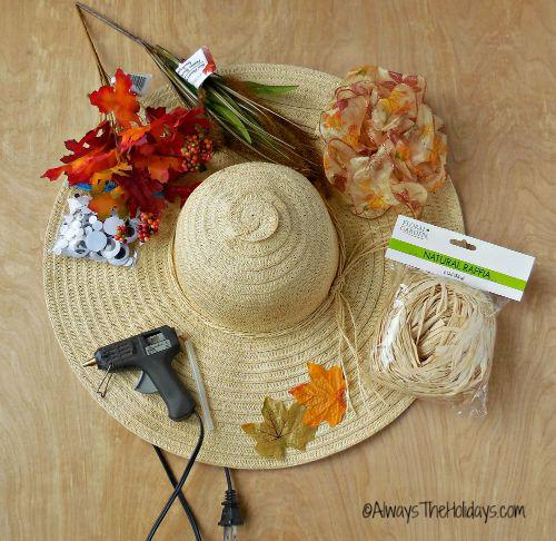 supplies for scarecrow wreath door decoration