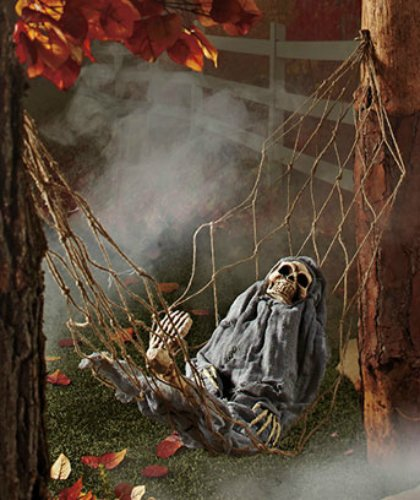 voice activated skeleton in a hammock