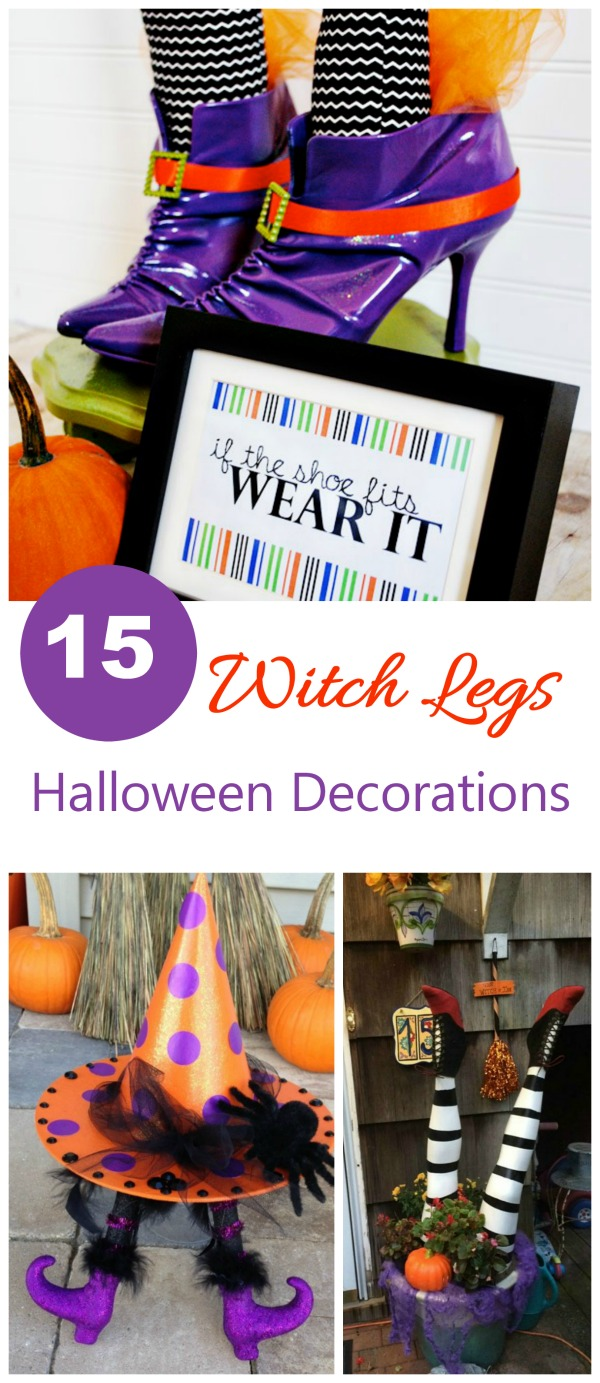 These witch legs Halloween decorations are a fun and whimsical way to decorate for the holiday. #witchlegs #witchesfeet