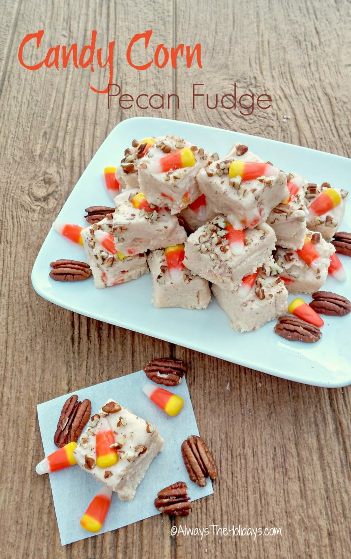 This candy corn pecan fudge is the perfect sweet treat for both Halloween and Thanksgiving.