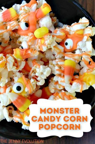Halloween monster candy corn popcorn from thejennyevolution.com
