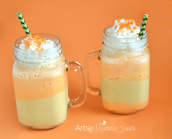 Candy corn inspired milk shake from artsymomma.com