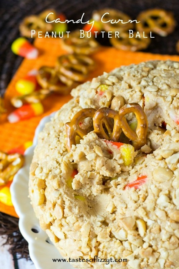 Candy corn peanut butter ball from tastesoflizzyt.com