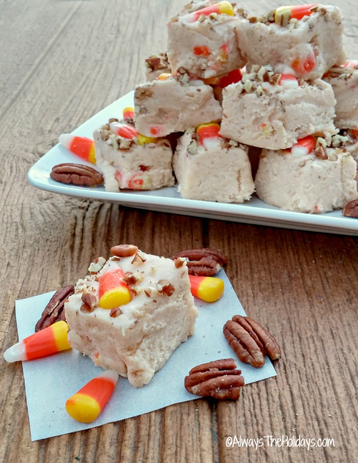 Candy corn pecan fudge. Perfect for Halloween or Thanksgiving