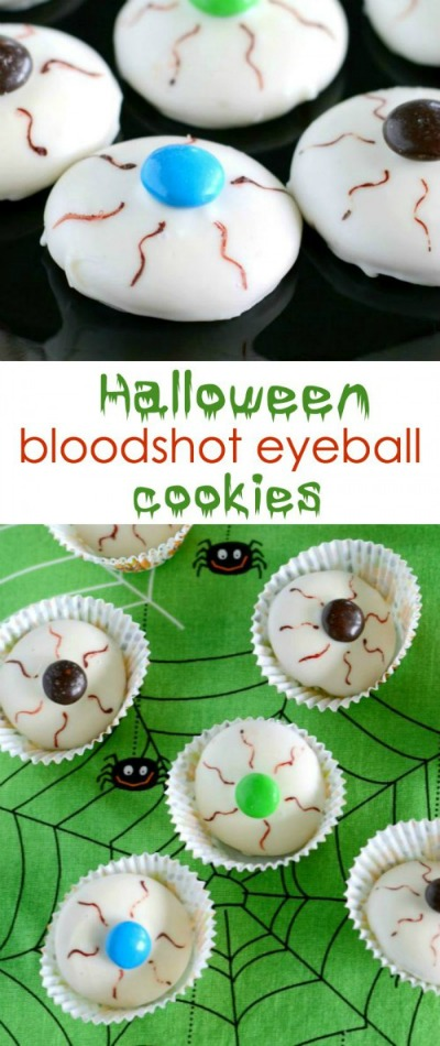 Halloween bloodshot eyeball cookies from creationsbykara.com