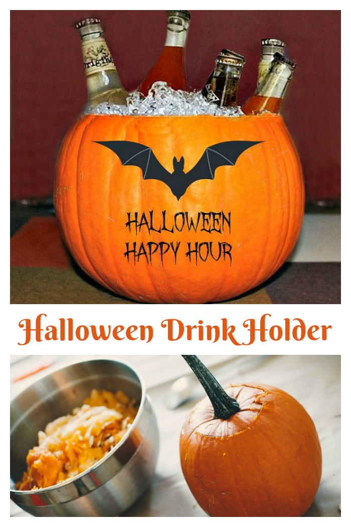 This Halloween drink holder is made from a scooped out pumpkin